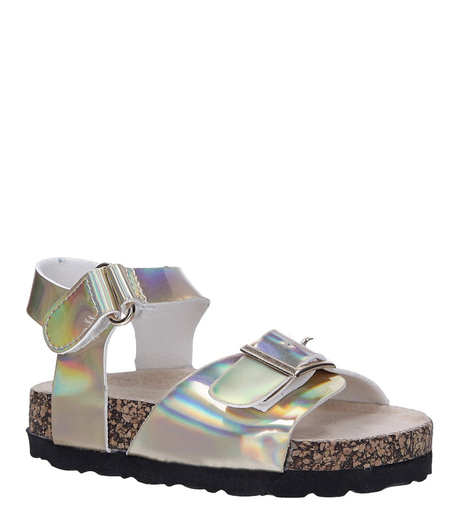 Złote sandały holograficzne na rzep ze skórzaną wkładką i profilowaną korkową podeszwą Casu B19KDX2/G