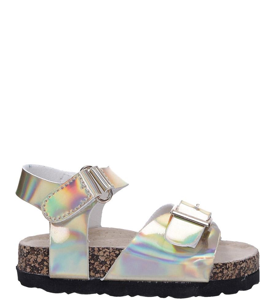 Złote sandały holograficzne na rzep ze skórzaną wkładką i profilowaną korkową podeszwą Casu B19KDX2/G model B19KDX2/G