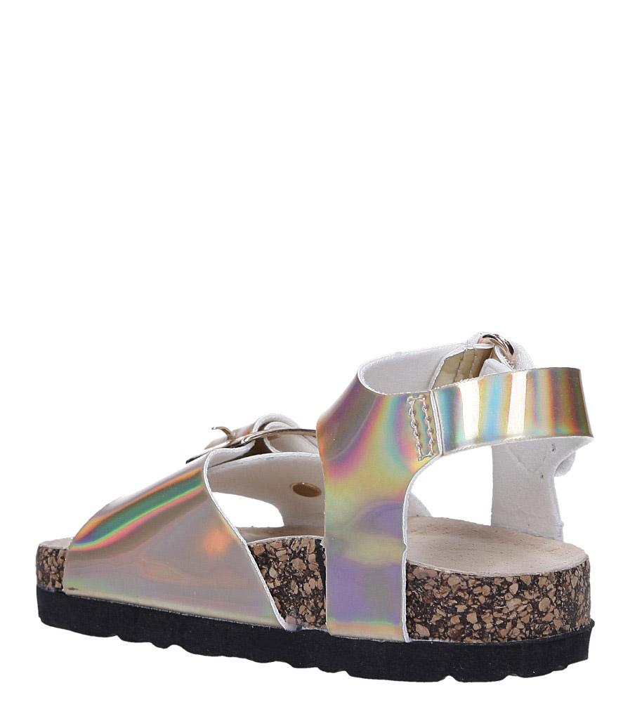 Złote sandały holograficzne na rzep ze skórzaną wkładką i profilowaną korkową podeszwą Casu B19KDX2/G sezon Lato