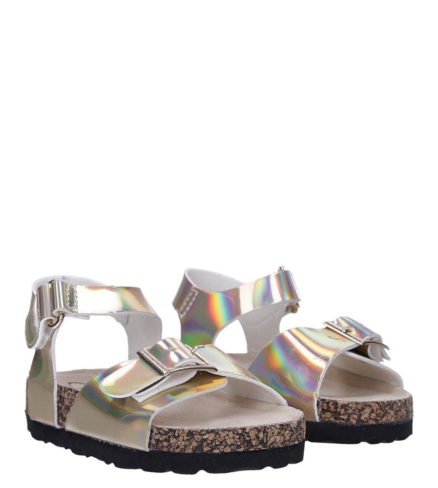 Złote sandały holograficzne na rzep ze skórzaną wkładką i profilowaną korkową podeszwą Casu B19KDX2/G kolor złoty