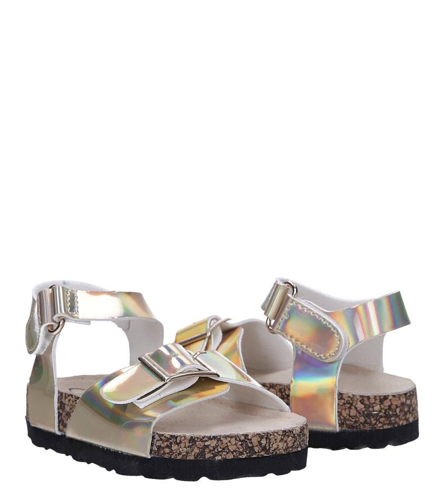 Złote sandały holograficzne na rzep ze skórzaną wkładką i profilowaną korkową podeszwą Casu B19KDX2/G wysokosc_obcasa 2.5 cm