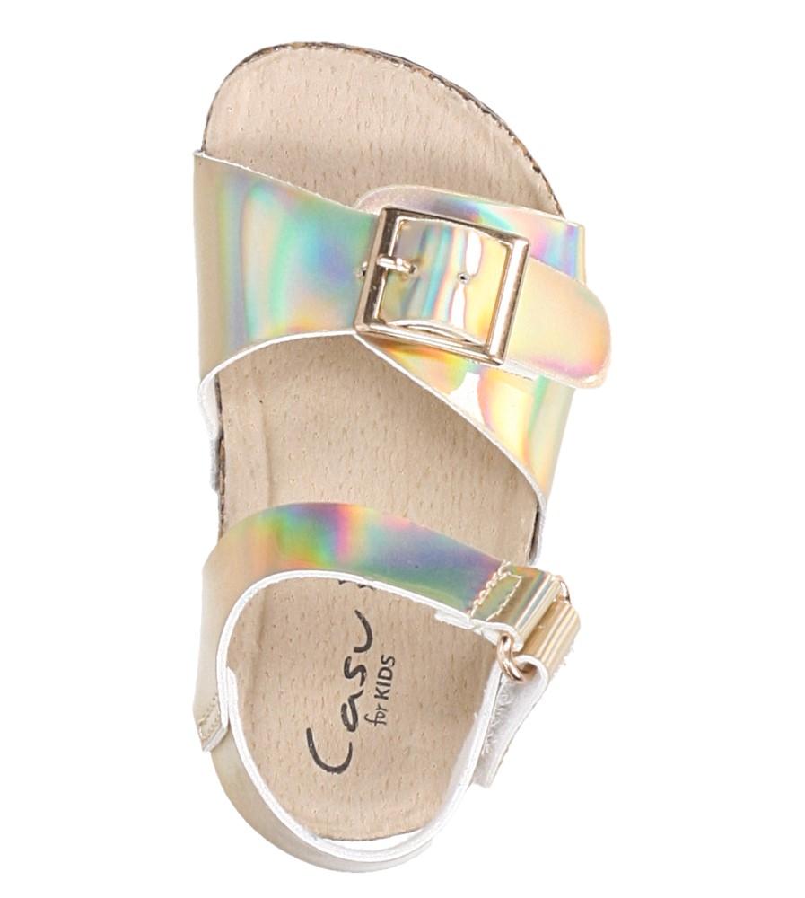 Złote sandały holograficzne na rzep ze skórzaną wkładką i profilowaną korkową podeszwą Casu B19KDX2/G wysokosc_platformy 2 cm