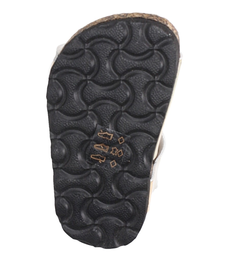 Złote sandały holograficzne na rzep ze skórzaną wkładką i profilowaną korkową podeszwą Casu B19KDX2/G wys_calkowita_buta 11 cm