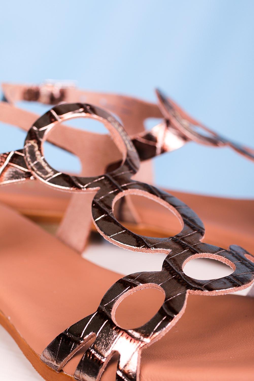 Złote sandały Maciejka skórzane płaskie ażurowe L4655-25/00-0 złoty