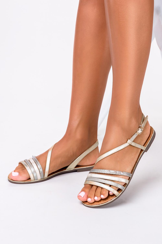 Złote sandały metaliczne płaskie z nitami Casu S19X6/G producent Casu