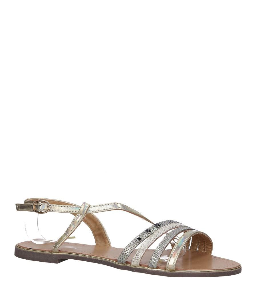 Złote sandały metaliczne płaskie z nitami Casu S19X6/G model S19X6/G