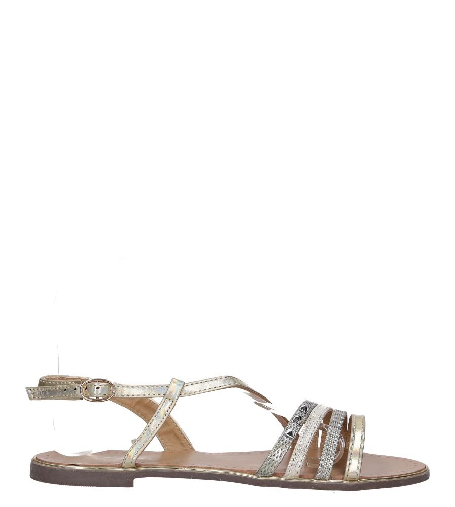 Złote sandały metaliczne płaskie z nitami Casu S19X6/G wysokosc_platformy 0.5 cm