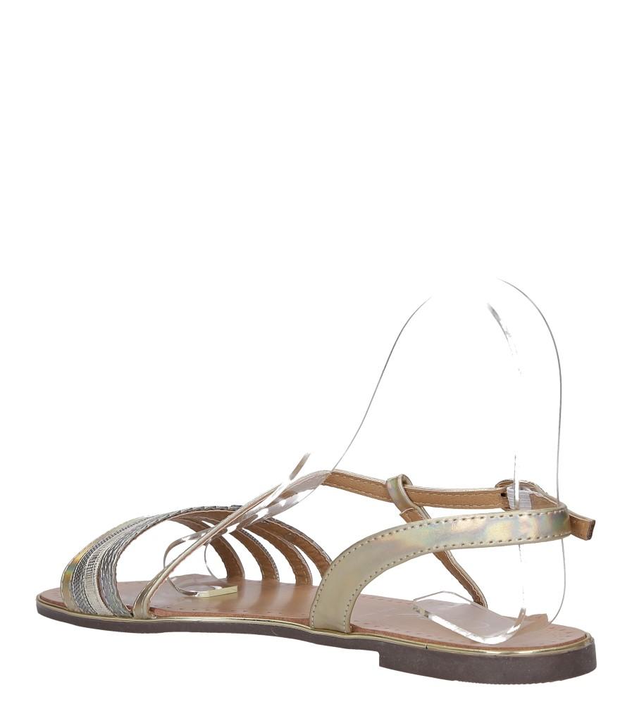 Złote sandały metaliczne płaskie z nitami Casu S19X6/G wys_calkowita_buta 7 cm