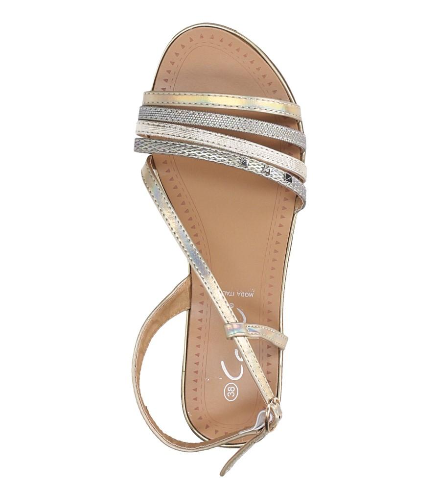 Złote sandały metaliczne płaskie z nitami Casu S19X6/G wierzch skóra ekologiczna