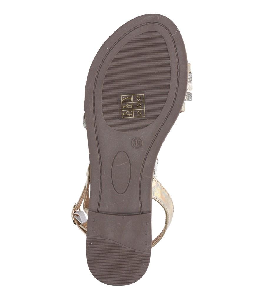 Złote sandały metaliczne płaskie z nitami Casu S19X6/G wnetrze skóra ekologiczna