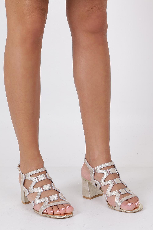 Złote sandały skórzane błyszczące na szerokim słupku Casu DS-196/A sezon Lato
