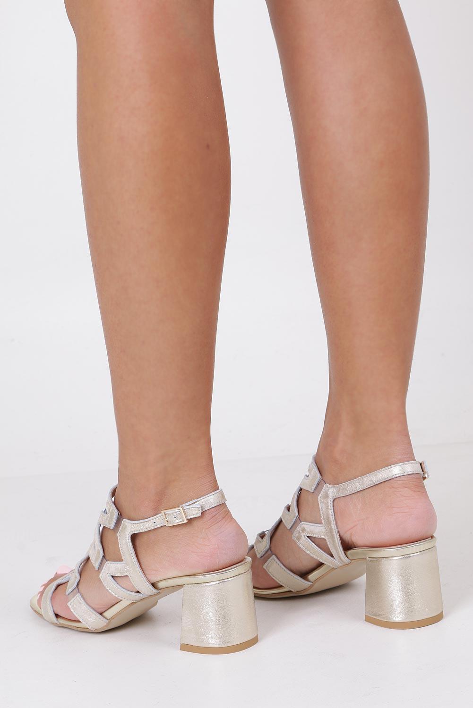 Złote sandały skórzane błyszczące na szerokim słupku Casu DS-196/A wysokosc_obcasa 6.5 cm
