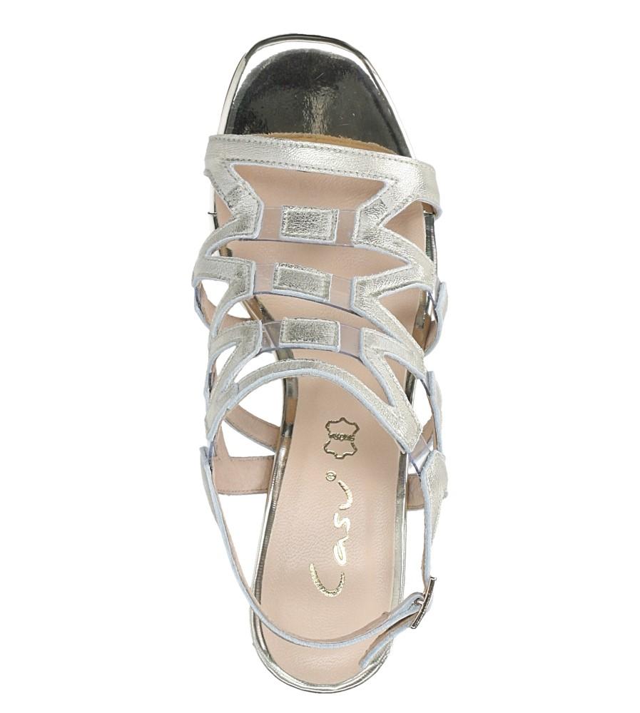 Złote sandały skórzane błyszczące na szerokim słupku Casu DS-196/A wierzch skóra naturalna - licowa