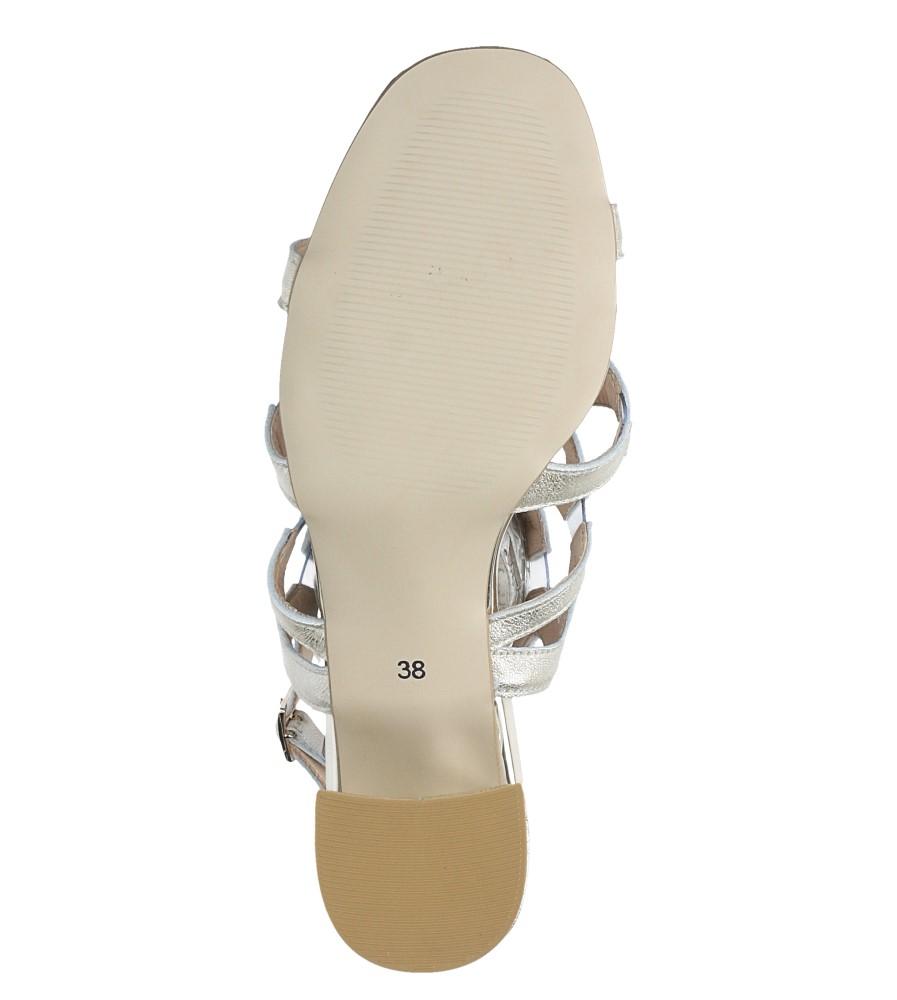 Złote sandały skórzane błyszczące na szerokim słupku Casu DS-196/A wnetrze skóra