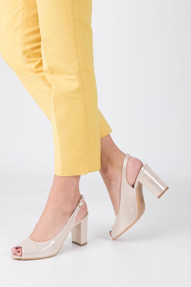 Złote sandały skórzane na szerokim słupku wzorek Casu 6030/1050