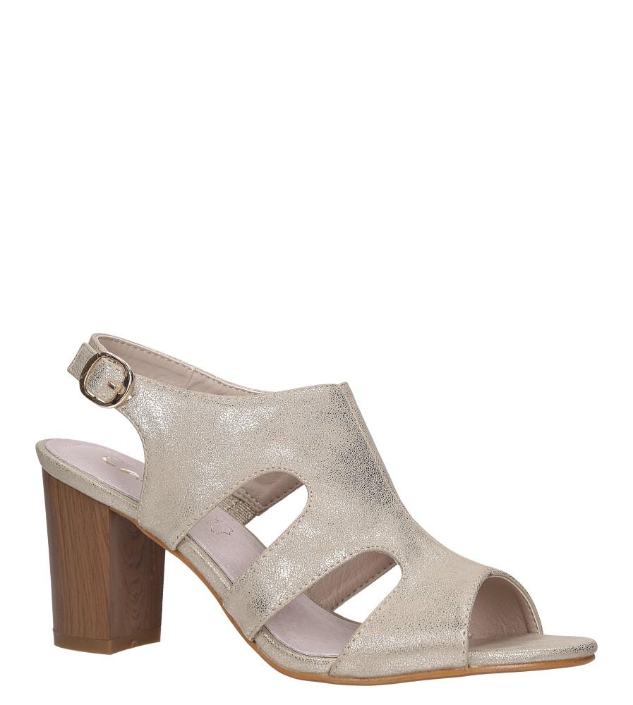 Złote sandały zabudowane błyszczące ze skórzaną wkładką na słupku Casu DD19X6/G