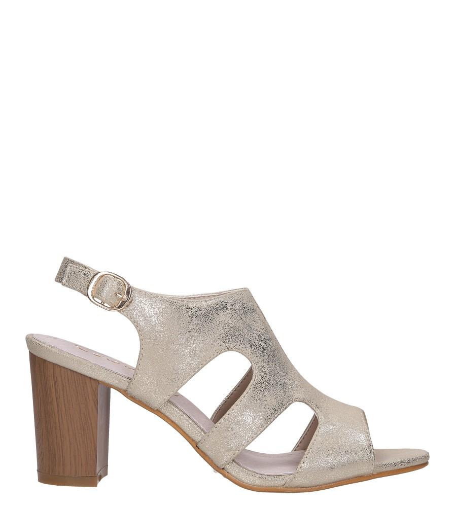 Złote sandały zabudowane błyszczące ze skórzaną wkładką na słupku Casu DD19X6/G wysokosc_platformy 0.5 cm