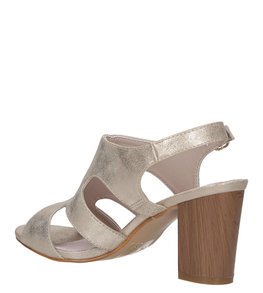 Złote sandały zabudowane błyszczące ze skórzaną wkładką na słupku Casu DD19X6/G wys_calkowita_buta 10.5 cm