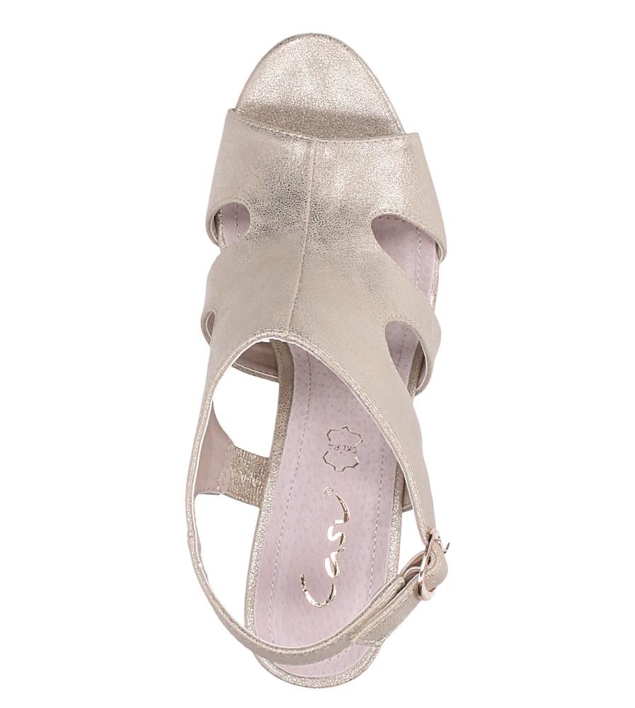 Złote sandały zabudowane błyszczące ze skórzaną wkładką na słupku Casu DD19X6/G wierzch skóra ekologiczna