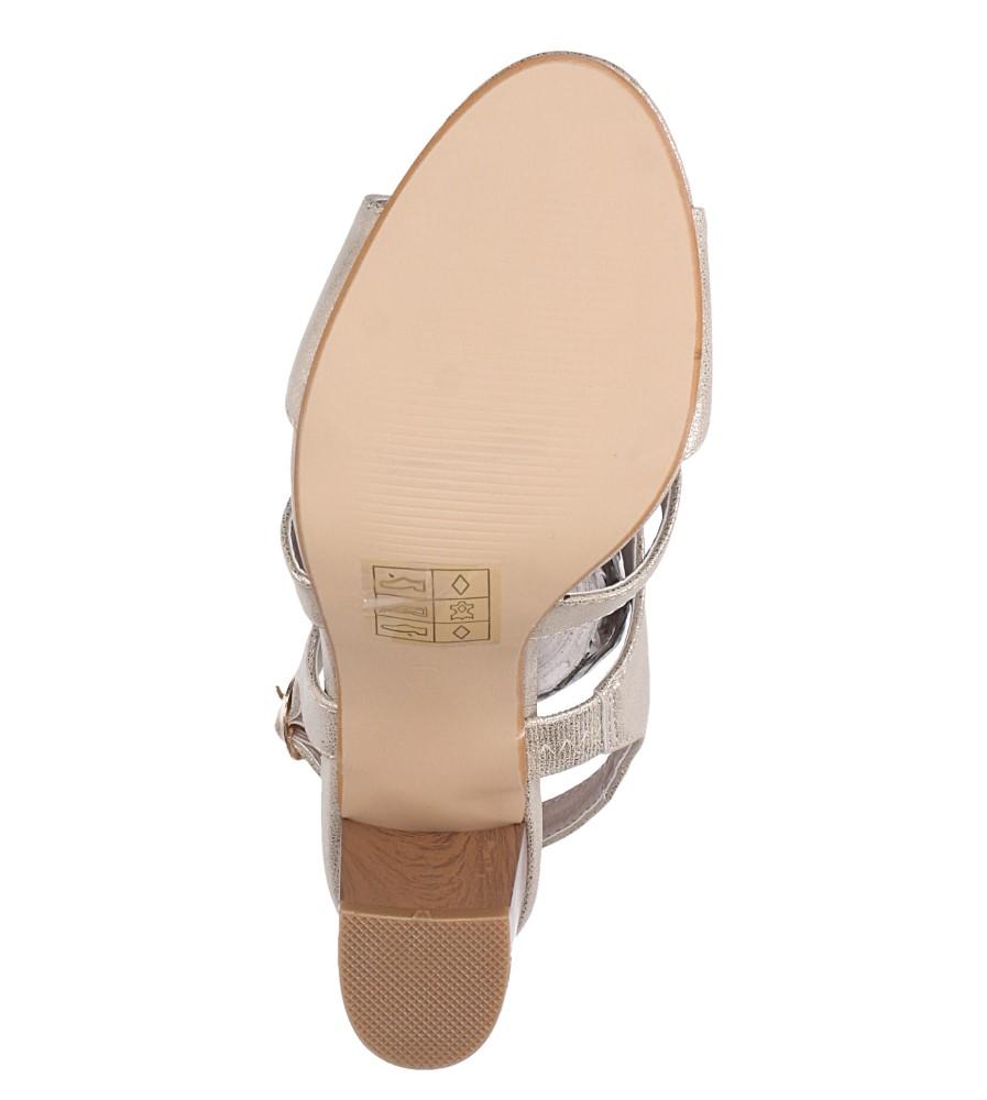 Złote sandały zabudowane błyszczące ze skórzaną wkładką na słupku Casu DD19X6/G wnetrze skóra ekologiczna