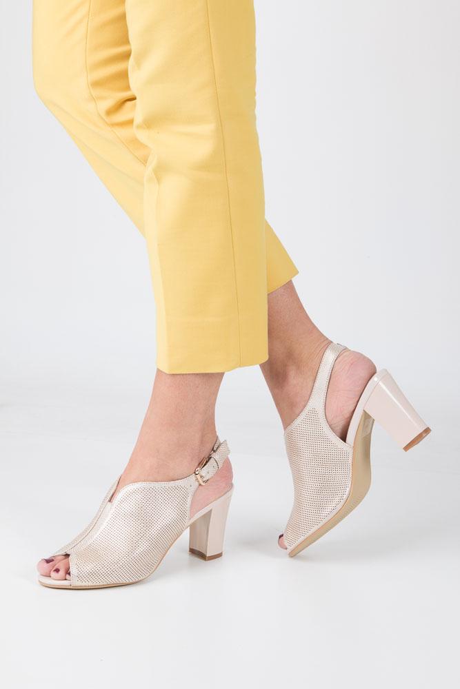 Złote sandały zabudowane na słupku błyszczące Sergio Leone SK812-23P