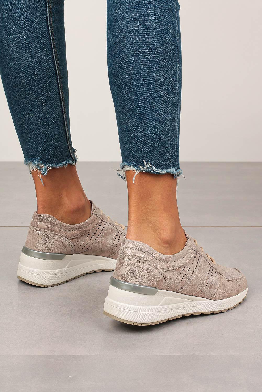 Złote sneakersy Filippo buty sportowe skórzane sznurowane DP736/20GO