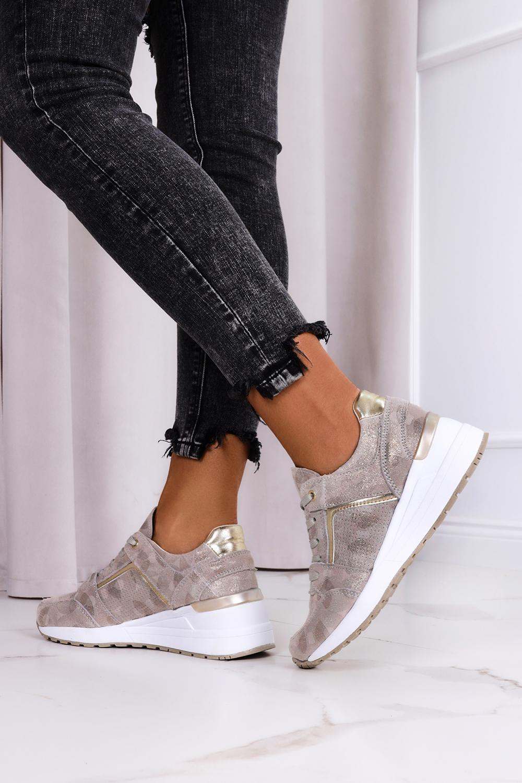Złote sneakersy Filippo metalizowane buty sportowe sznurowane skórzane DP2003/21GO złoty
