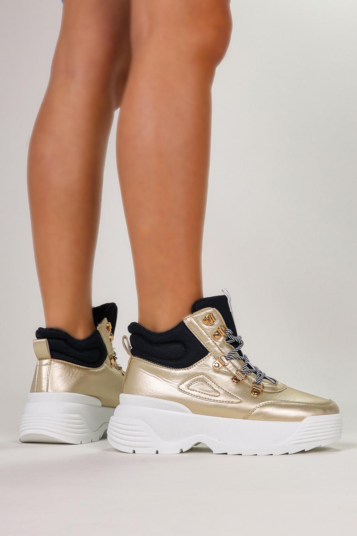 Złote sneakersy na platformie buty sportowe sznurowane Casu LV111-7 złoty