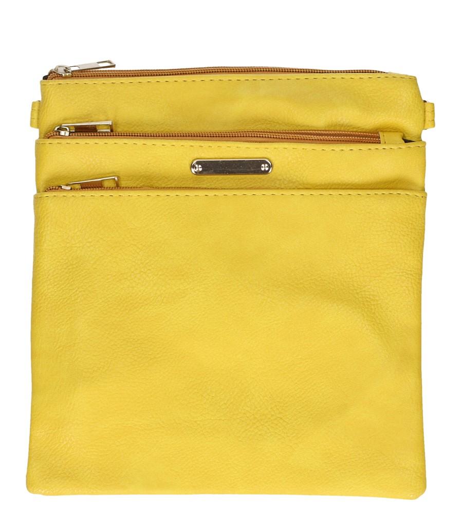 Żółta torebka listonoszka z kieszonką z przodu Casu AD-104