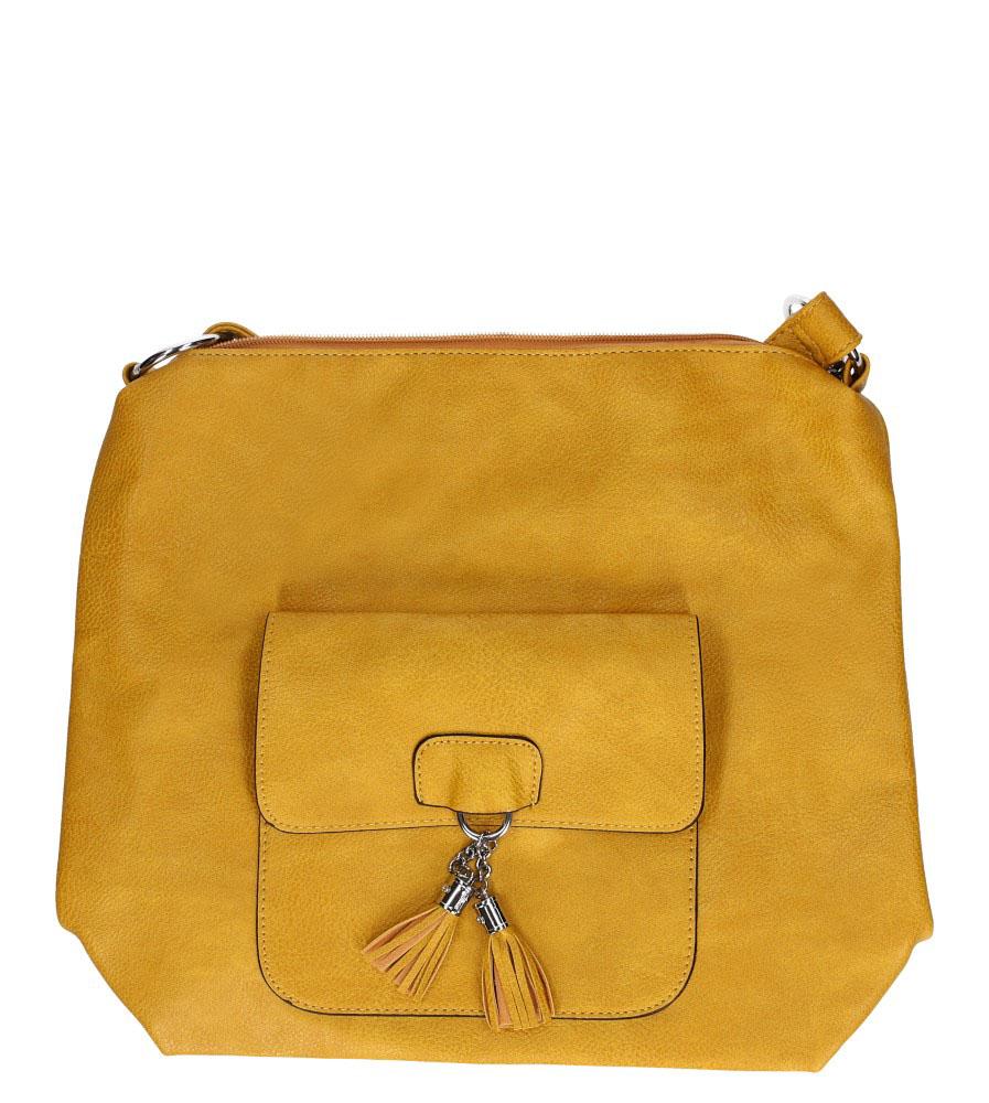 Żółta torebka listonoszka z kieszonką z przodu i frędzlami Casu AD-54