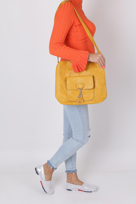 Żółta torebka listonoszka z kieszonką z przodu i frędzlami Casu AD-54 sezon Lato