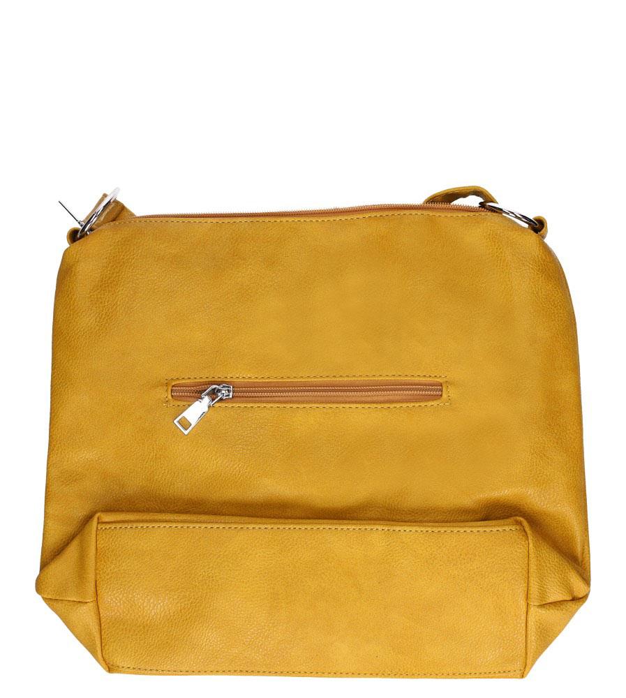 Żółta torebka listonoszka z kieszonką z przodu i frędzlami Casu AD-54 kolor żółty