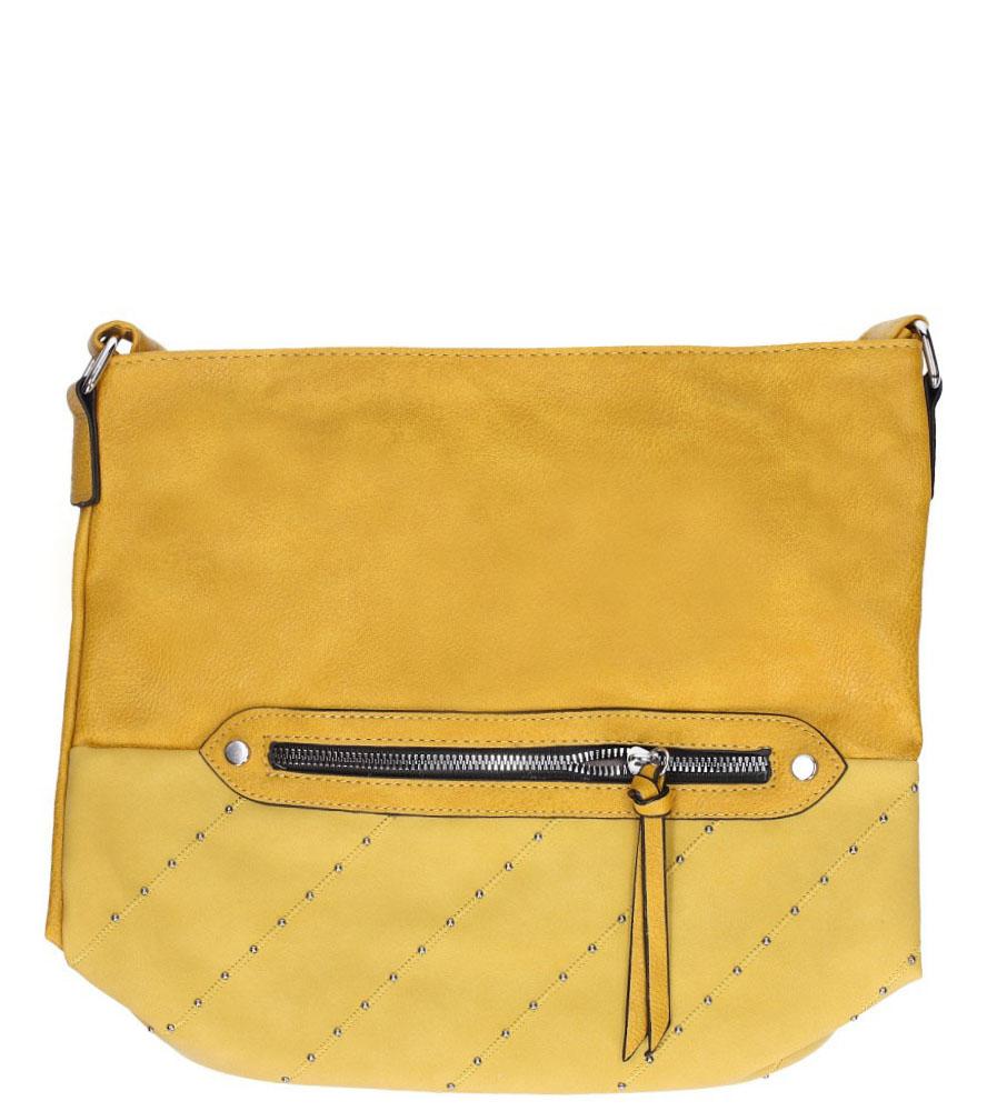 Żółta torebka listonoszka z kieszonką z przodu i ozdobnymi suwakami Casu AD-52