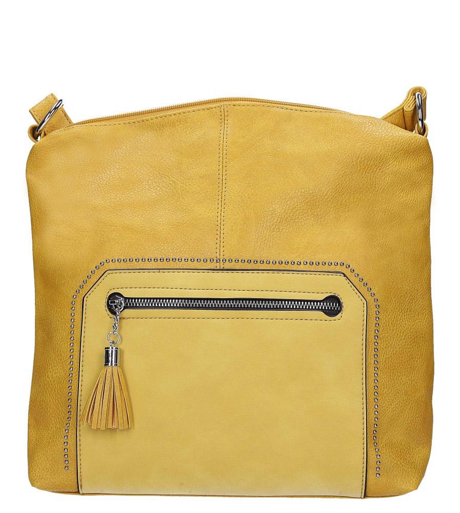 Żółta torebka listonoszka z nitami i kieszonką z przodu Casu AD-50
