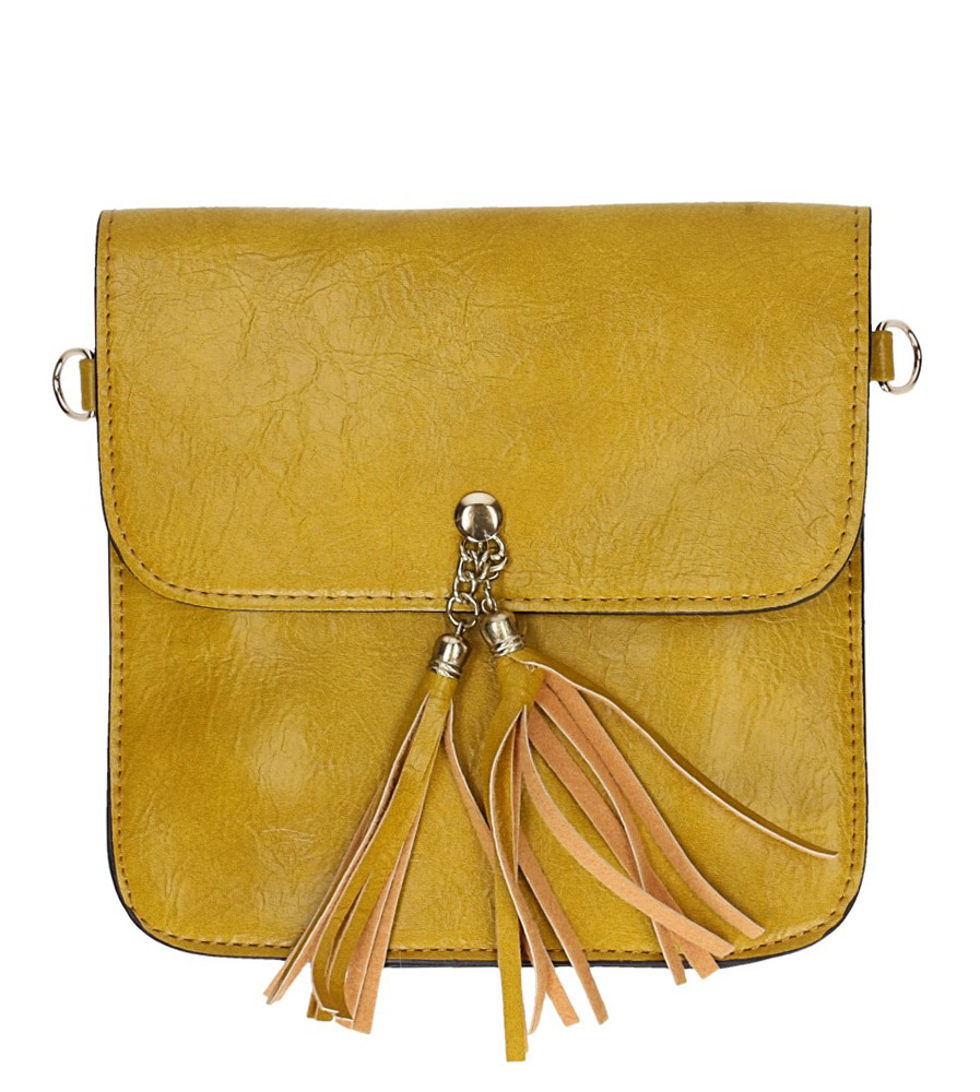 Żółta torebka mała z frędzlami Casu AD-102