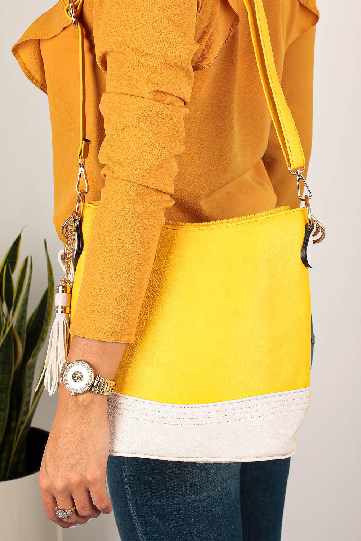 Żółta torebka z frędzlami Casu AC-108
