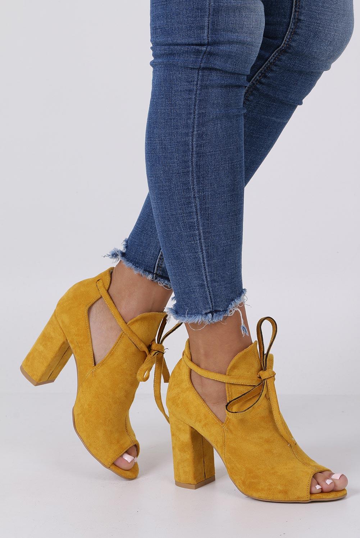 Żółte botki wiosenne peep toe na słupku z ozdobnym wiązaniem Casu 270 style Peep toe