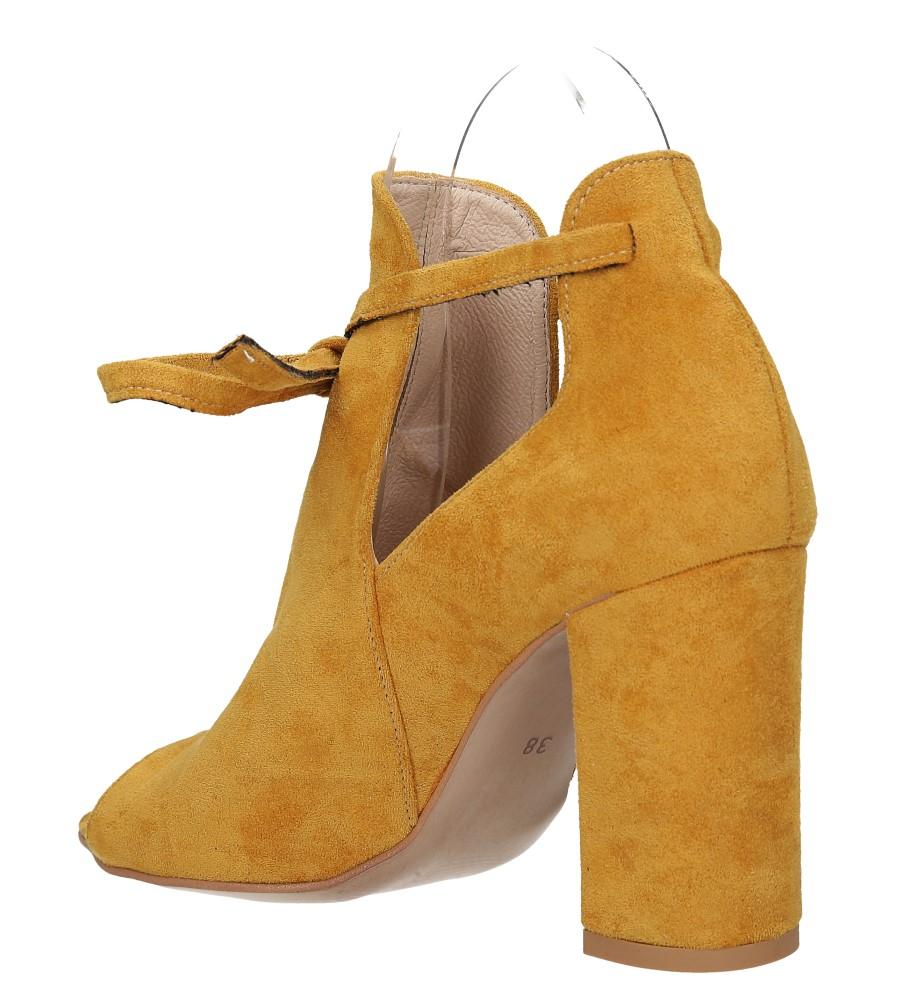 Żółte botki wiosenne peep toe na słupku z ozdobnym wiązaniem Casu 270 wysokosc_platformy 0.5 cm
