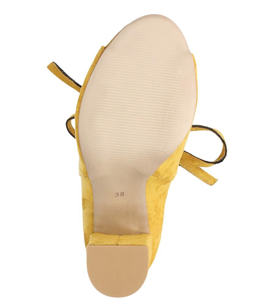 Żółte botki wiosenne peep toe na słupku z ozdobnym wiązaniem Casu 270 wierzch zamsz ekologiczny