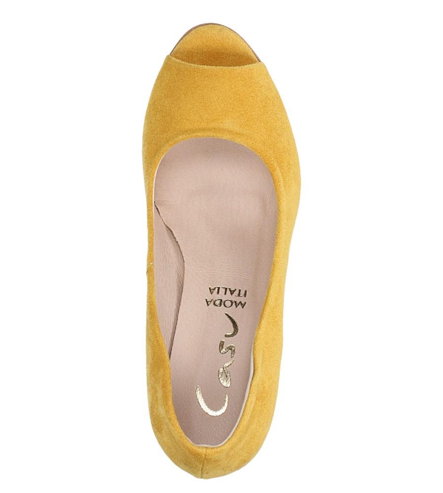 Żółte czółenka peep toe na szerokim ozdobnym słupku Casu 074 wys_calkowita_buta 15 cm