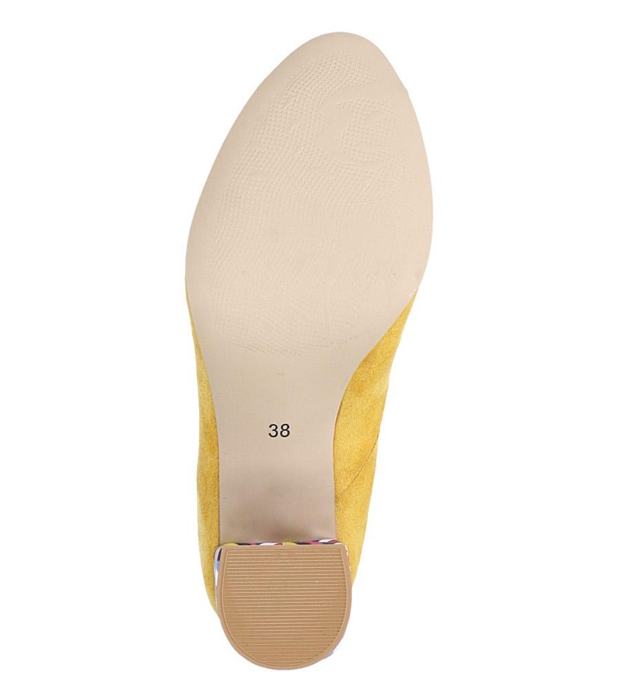 Żółte czółenka peep toe na szerokim ozdobnym słupku Casu 074 wierzch zamsz ekologiczny