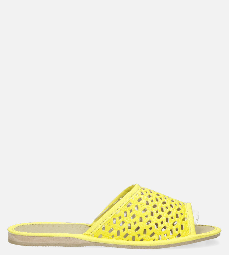 Żółte kapcie ażurowe Casu D-K-33 żółty