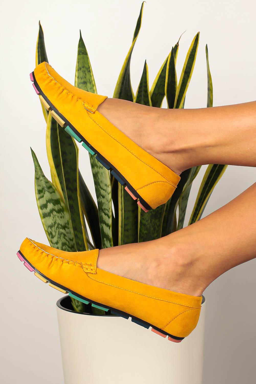 Żółte mokasyny Casu z elastyczną kolorową podeszwą RT20X5/Y żółty