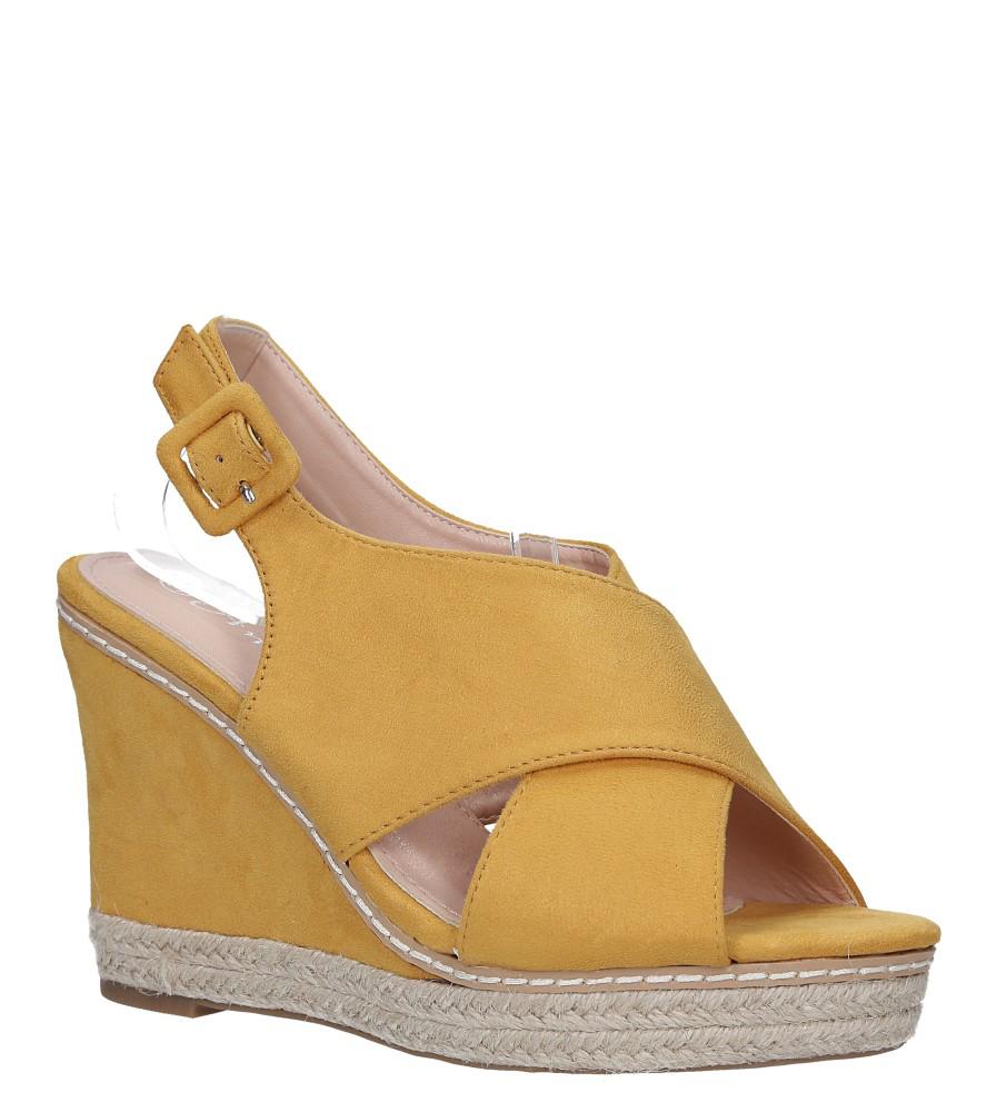 Żółte sandały espadryle z paskami na krzyż na koturnie Casu 66-368