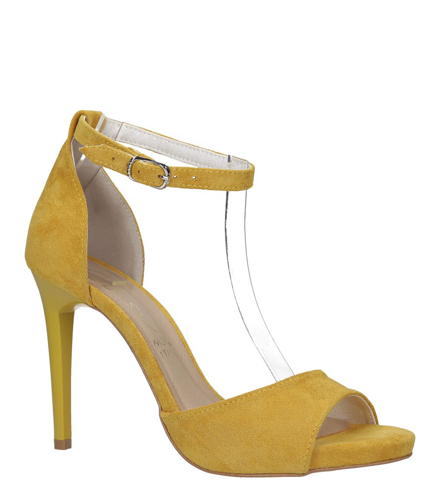 Żółte sandały szpilki z zakrytą piętą i paskiem wokół kostki Casu 1590/1 model 1590/1