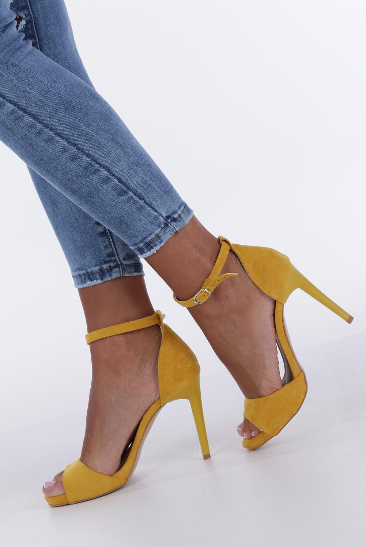 Żółte sandały szpilki z zakrytą piętą i paskiem wokół kostki Casu 1590/1 kolor żółty