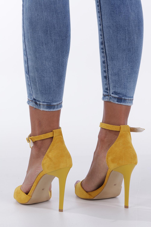 Żółte sandały szpilki z zakrytą piętą i paskiem wokół kostki Casu 1590/1 wysokosc_obcasa 10.5 cm