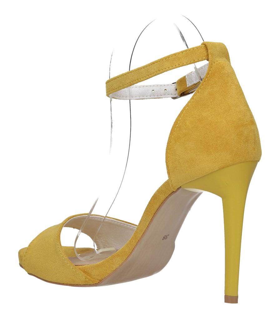 Żółte sandały szpilki z zakrytą piętą i paskiem wokół kostki Casu 1590/1 wys_calkowita_buta 19 cm