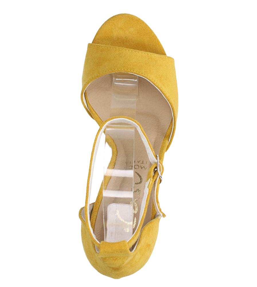 Żółte sandały szpilki z zakrytą piętą i paskiem wokół kostki Casu 1590/1 wierzch zamsz ekologiczny