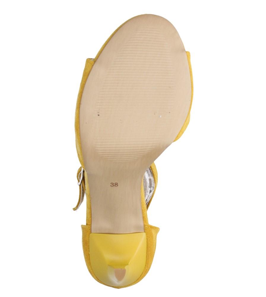 Żółte sandały szpilki z zakrytą piętą i paskiem wokół kostki Casu 1590/1 wnetrze skóra ekologiczna